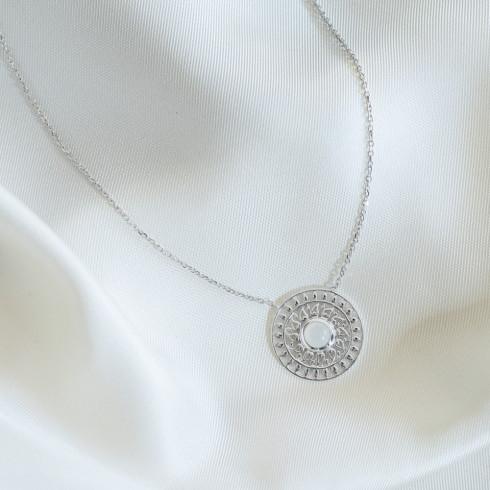 Collier argent pierre de lune mandala