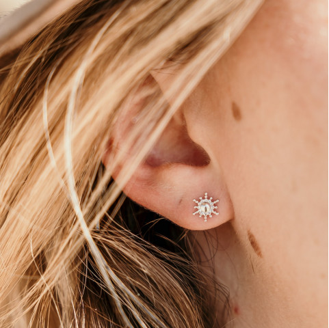 Boucles d'oreilles en argent puces soleil