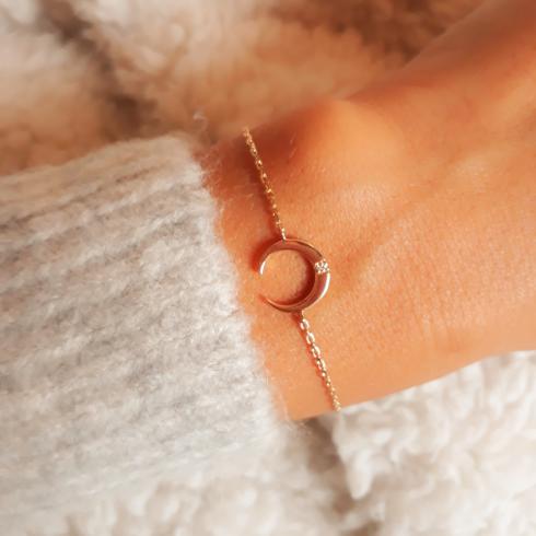 Bracelet lune Arya plaqué or