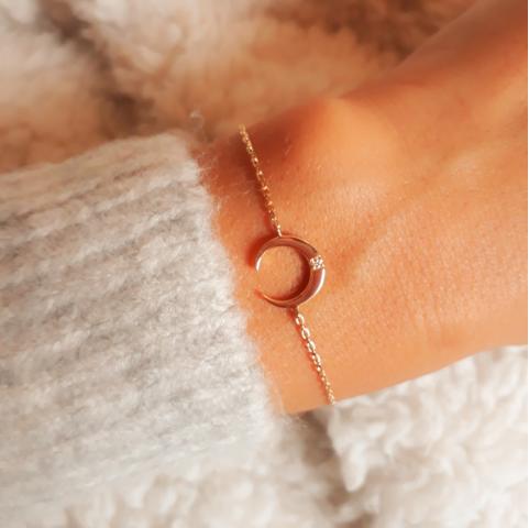 Bracelet plaqué or lune