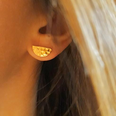 Boucles d'oreilles puces plaqué or lune