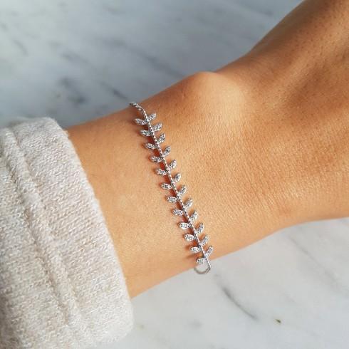 Bracelet argent épis de blé zirconium