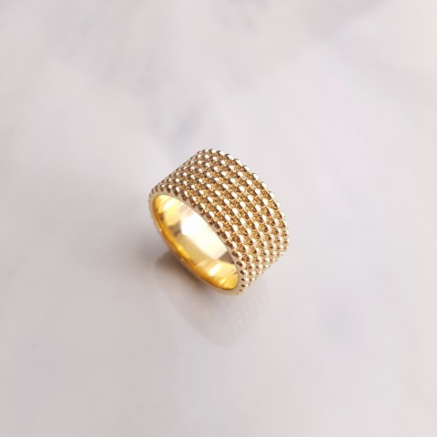 Bague plaqué or perles