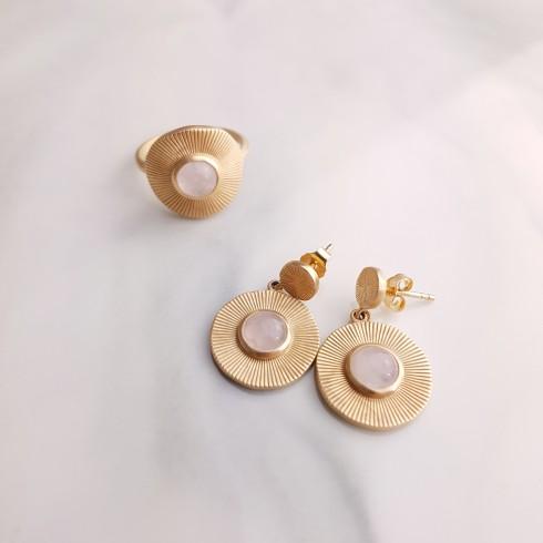 Parure bijoux plaqué or quartz rose