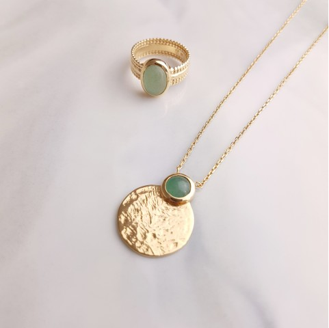 Parure bijoux plaqué or aventurine