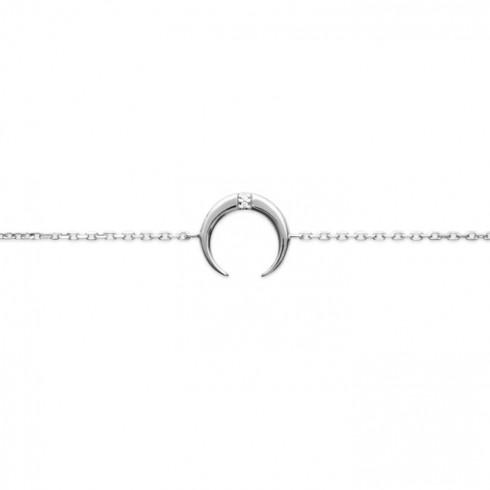 Bracelet fin argent 925 rhodié, corne sertie d'une pierre précieuse en oxyde de zirconium