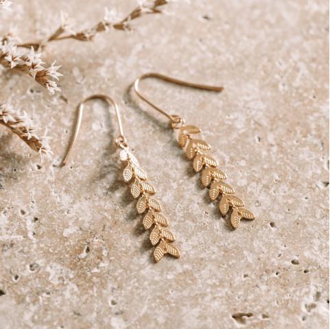 Boucles d'oreilles en plaqué or, pendants en forme d'épis de blé