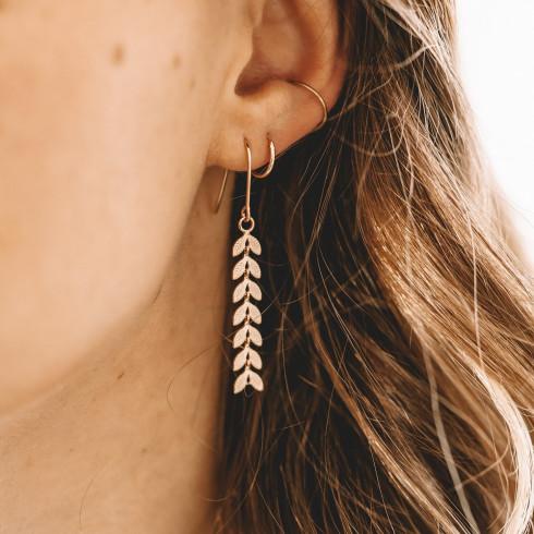 Boucles d'oreilles pendantes plaqué or épis de blé