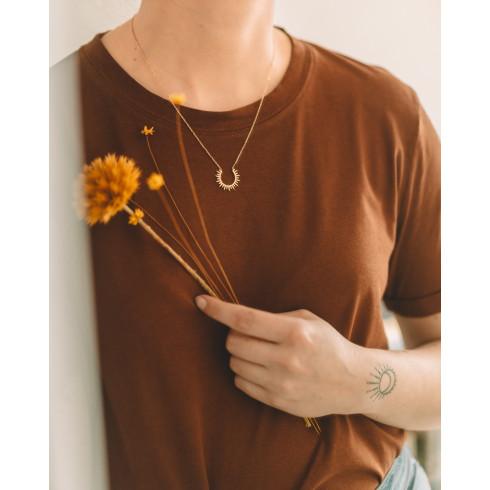Collier fin femme plaqué or pendentif  soleil