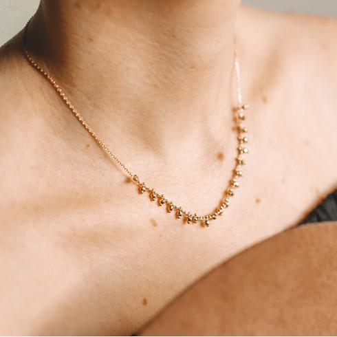 Collier ras de cou plaqué or petites perles
