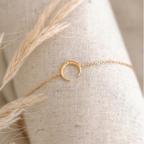 Bracelet plaqué or, motif croissant de lune strass zirconium