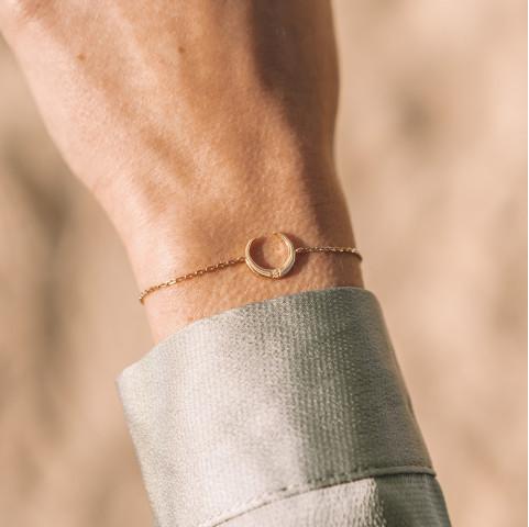 Bracelet plaqué or lune strass zirconium