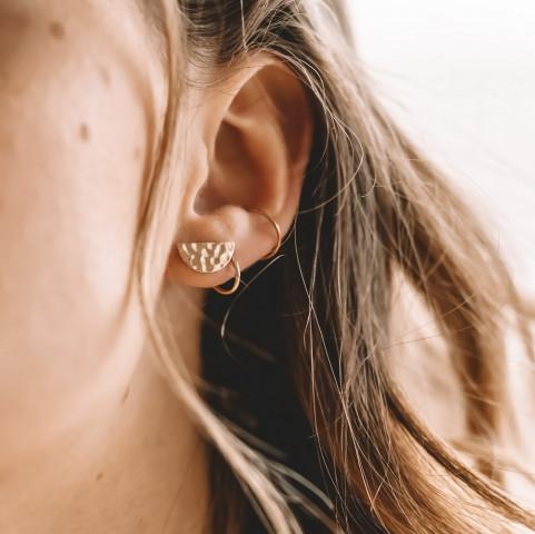 Boucles d'oreilles plaqué or demi-lune martelée