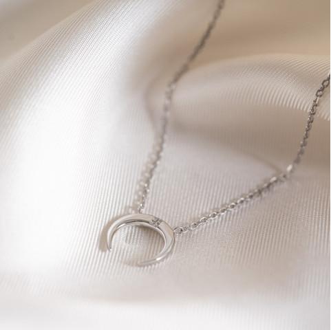 Collier fin argent 925 rhodié, pendentif corne sertie d'une pierre précieuse en oxyde de zirconium
