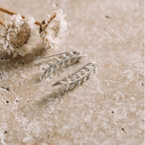 Boucles d'oreilles argent épis de blé  zirconium strass