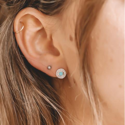 Boucles d'oreilles argent  pierre précieuse turquoise