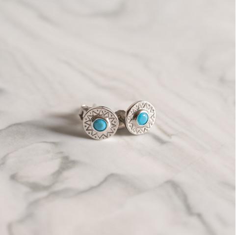 Boucles d'oreilles argent ornées d'une pierre semi-précieuse de turquoise ethniques