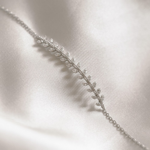 Bracelet argent 925 rhodié épis de blé