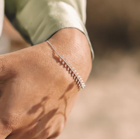 Bracelet argent épis de blé strass