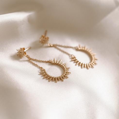 Boucles d'oreilles plaqué or soleil